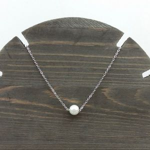 Faux Pearl Silver Tone Chain Necklace 16 inch NWT